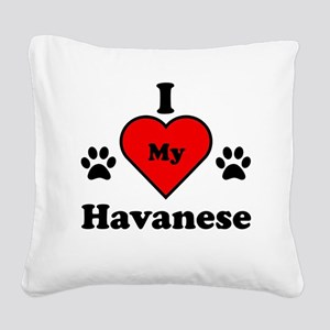 I Heart My Havanese Square Canvas Pillow