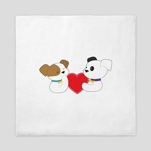 Puppies and Heart Queen Duvet