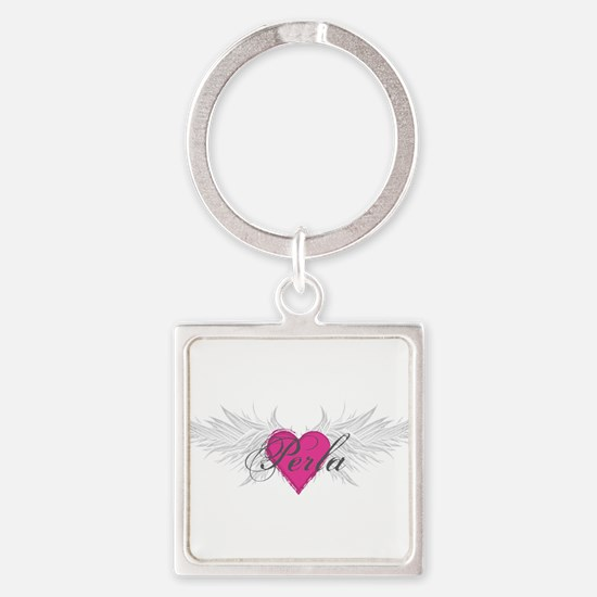 Perla-angel-wings.png Square Keychain