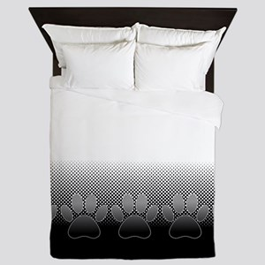 Black And White Paws With Newsprint Ba Queen Duvet