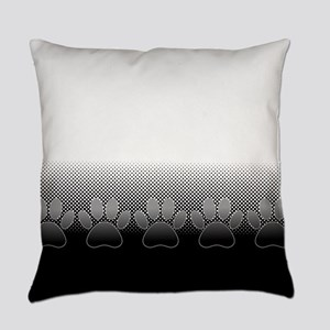 Black And White Paws With Newsprin Everyday Pillow