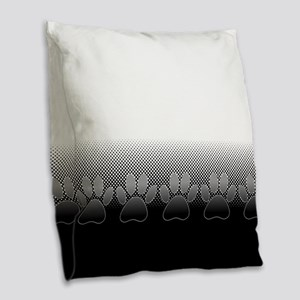 Black And White Paws With News Burlap Throw Pillow