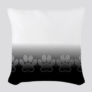 Black And White Paws With News Woven Throw Pillow
