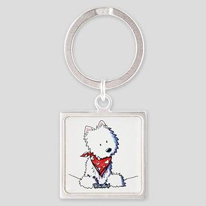 Pocket Westie Valentine Square Keychain
