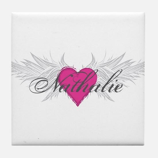 Nathalie-angel-wings.png Tile Coaster