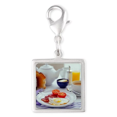 Fried breakfast - Silver Square Charm