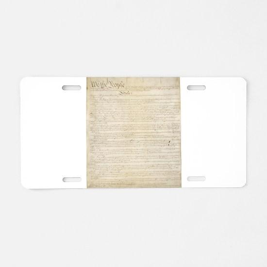 The Us Constitution Aluminum License Plate