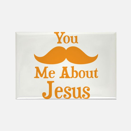 Mustache Me About Jesus Rectangle Magnet (10 pack)