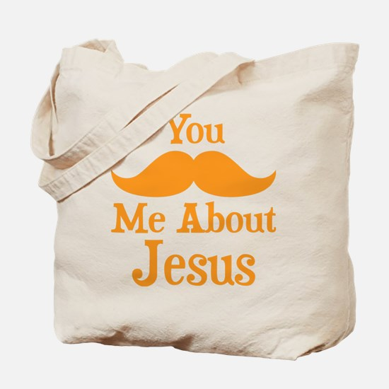 Mustache Me About Jesus Tote Bag