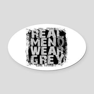 Real Men Brain Tumor Oval Car Magnet