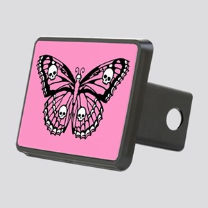 Pink Skull Butterfly Rectangular Hitch Cover