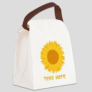 Sunflower. Custom Text. Canvas Lunch Bag