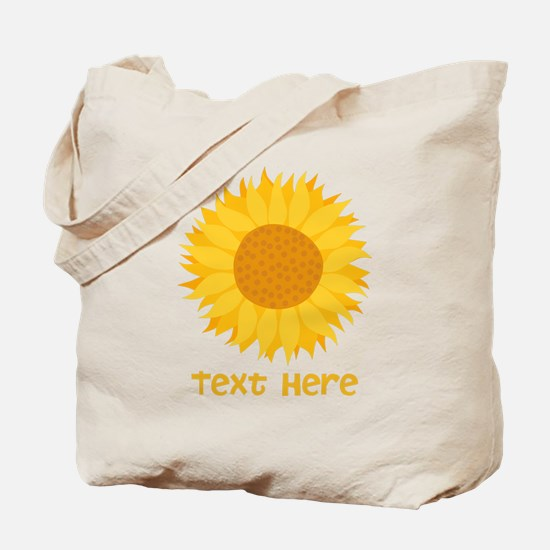 Sunflower. Custom Text. Tote Bag