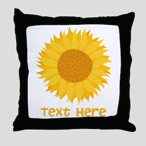 Sunflower. Custom Text. Throw Pillow