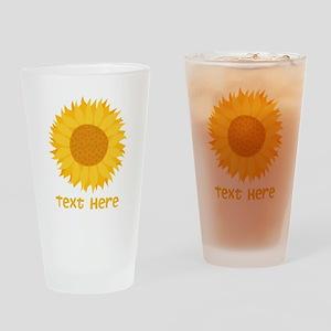 Sunflower. Custom Text. Drinking Glass