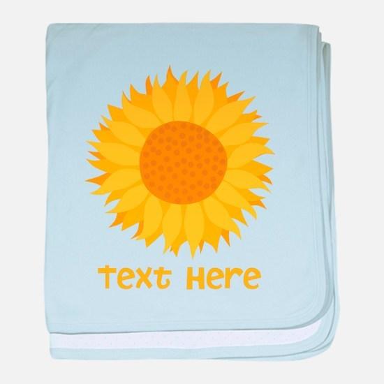 Sunflower. Custom Text. baby blanket