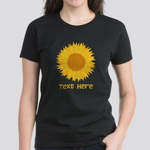 Sunflower. Custom Text. Women's Dark T-Shirt