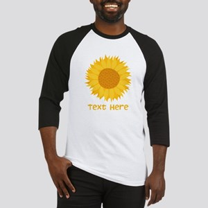 Sunflower. Custom Text. Baseball Jersey