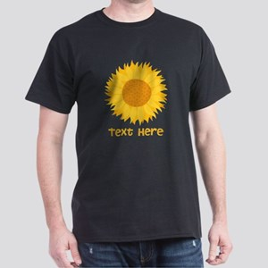 Sunflower. Custom Text. Dark T-Shirt
