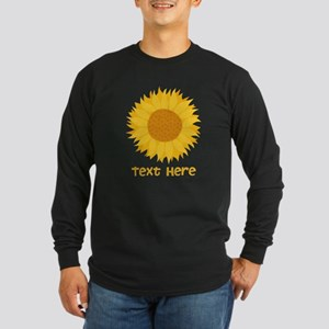 Sunflower. Custom Text. Long Sleeve Dark T-Shirt