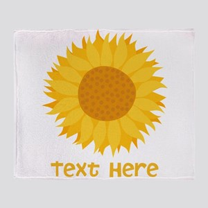 Sunflower. Custom Text. Throw Blanket