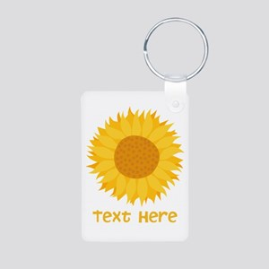 Sunflower. Custom Text. Aluminum Photo Keychain