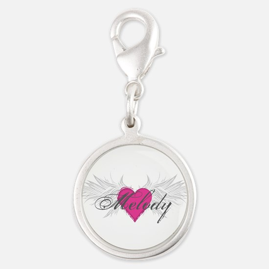 Melody-angel-wings.png Silver Round Charm