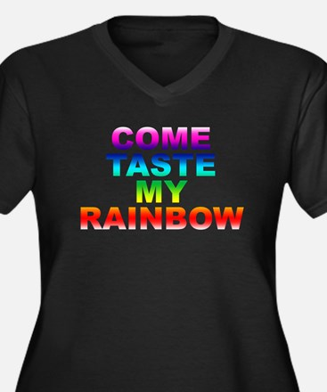Come Taste My Rainbow Women's Plus Size V-Neck Dar