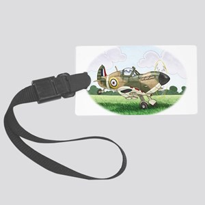 cartoon spitfire taking off Large Luggage Tag