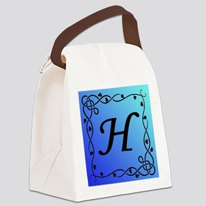 Blue Initial H Canvas Lunch Bag