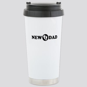 New Dad with Footprints Stainless Steel Travel Mug