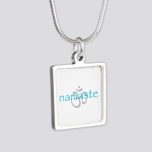 Om Namaste Silver Square Necklace