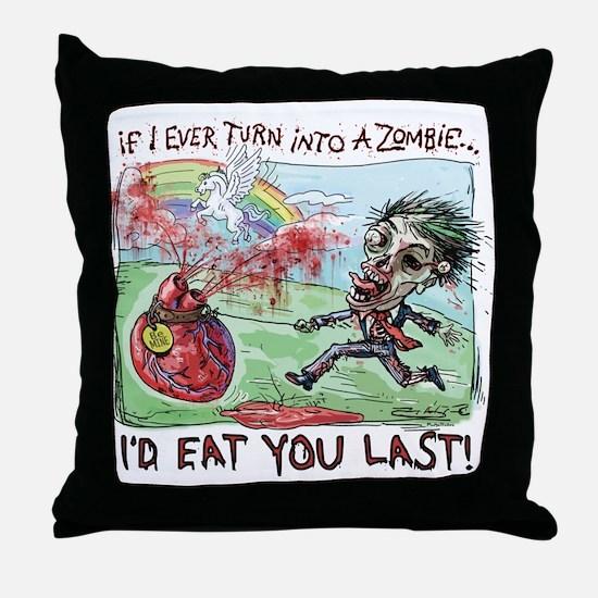 Be Mine Zombie Boy Throw Pillow