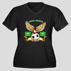 Saudi Arabia Football Design Women's Plus Size V-N