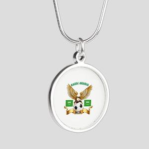 Saudi Arabia Football Design Silver Round Necklace