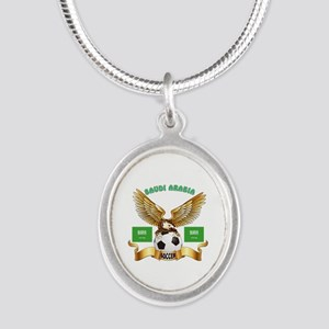 Saudi Arabia Football Design Silver Oval Necklace
