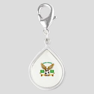 Saudi Arabia Football Design Silver Teardrop Charm