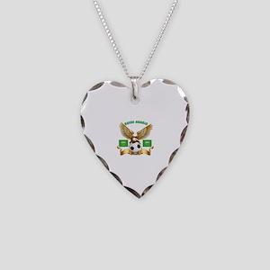Saudi Arabia Football Design Necklace Heart Charm