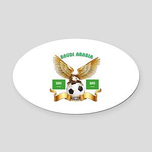 Saudi Arabia Football Design Oval Car Magnet