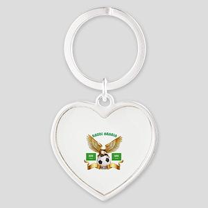 Saudi Arabia Football Design Heart Keychain