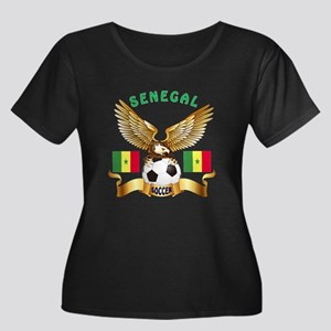 Senegal Football Design Women's Plus Size Scoop Ne