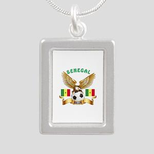 Senegal Football Design Silver Portrait Necklace