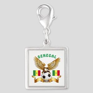 Senegal Football Design Silver Square Charm
