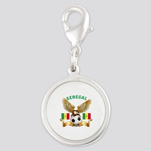 Senegal Football Design Silver Round Charm