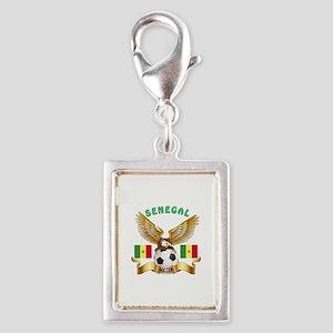 Senegal Football Design Silver Portrait Charm
