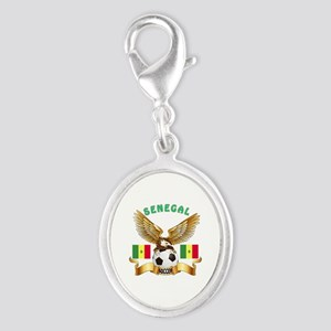 Senegal Football Design Silver Oval Charm