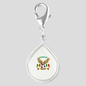 Senegal Football Design Silver Teardrop Charm