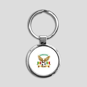 Senegal Football Design Round Keychain