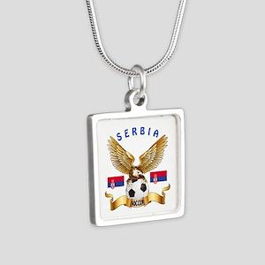 Serbia Football Design Silver Square Necklace