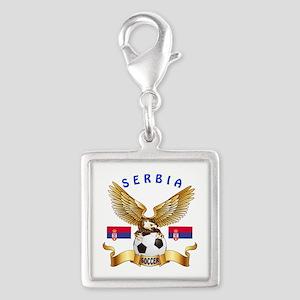 Serbia Football Design Silver Square Charm